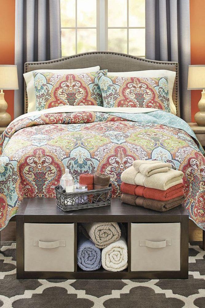 Girl's Dorm Room Bedding Damask Jeweled Reversible Orange King Quilt Set #BeddingSet