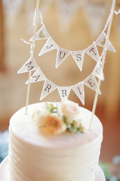 cute 'just married' cake topper