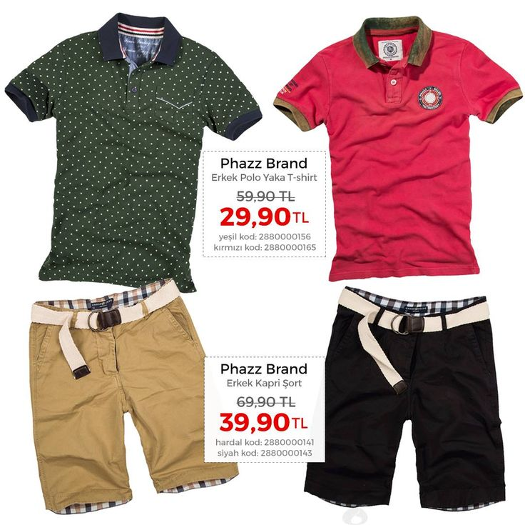 Stoklar Tükenene Kadar, Phazz Brand Erkek Kapri Şort 69.90 TL Yerine Sadece 39.90 TL Hardal kod: 2880000143 http://www.hermarkabizde.com/phazz-brand-erkek-kapri-so-18.html Siyah kod: 2880000141 http://www.hermarkabizde.com/phazz-brand-erkek-kapri-so-16.html  Phazz Brand Erkek Polo Yaka T-shirt 59.90 TL Yerine Sadece 29.90 TL Yeşil kod: 2880000156 http://www.hermarkabizde.com/phazz-brand-erkek-polo-yaka-t-shi-6.html Kırmızı kod: 2880000165