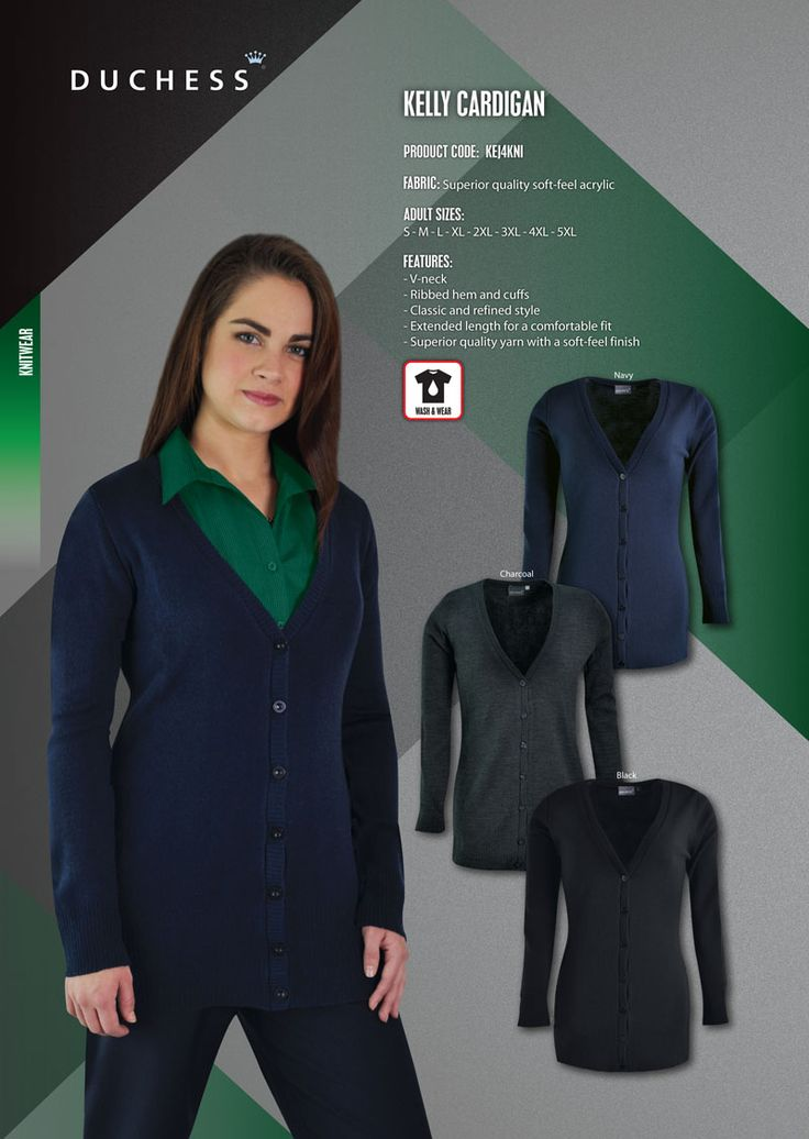 The KELLY cardigan has been created for comfort with its longer length and soft-feel yarn. It is ideal as part of a uniform all year round.  FABRIC: High quality soft-feel acrylic yarn  FEATURES: - Extended length for a comfortable fit - RELAXED fit to compliment all body shapes - Ribbed hem and cuffs - Classic styling  LADIES SIZES: S - M - L - XL - 2XL - 3XL - 4XL