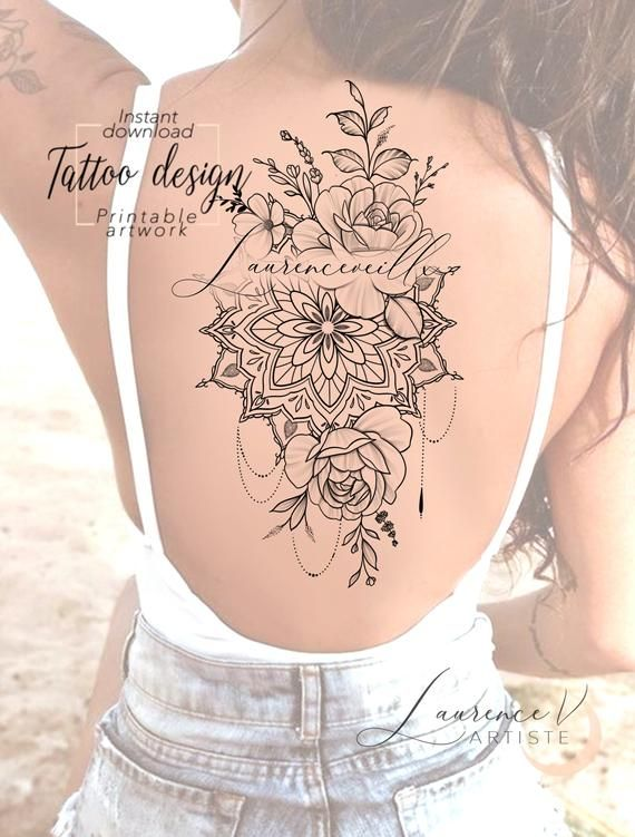 Printable Tattoo Design Instant Download Tattoo Design Etsy In 2020 Printable Tattoos Tattoo Designs Flower Mandala