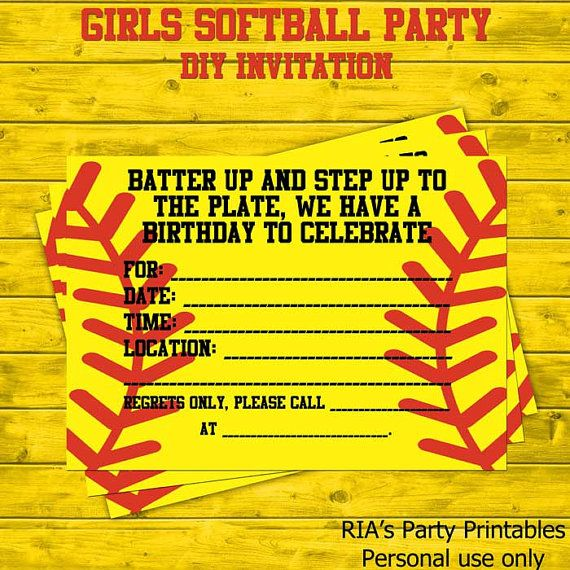 17 Best ideas about Softball Party – Diy Girl Birthday Party Invitations