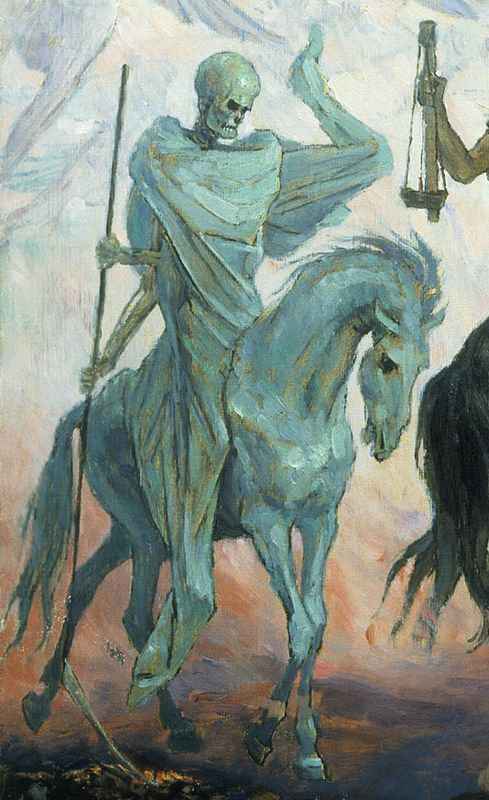 Death on a Pale Horse (detail from The Four Horsemen of the Apocalypse by Viktor Mikhailovich Vasnetsov).  Danse Macabre