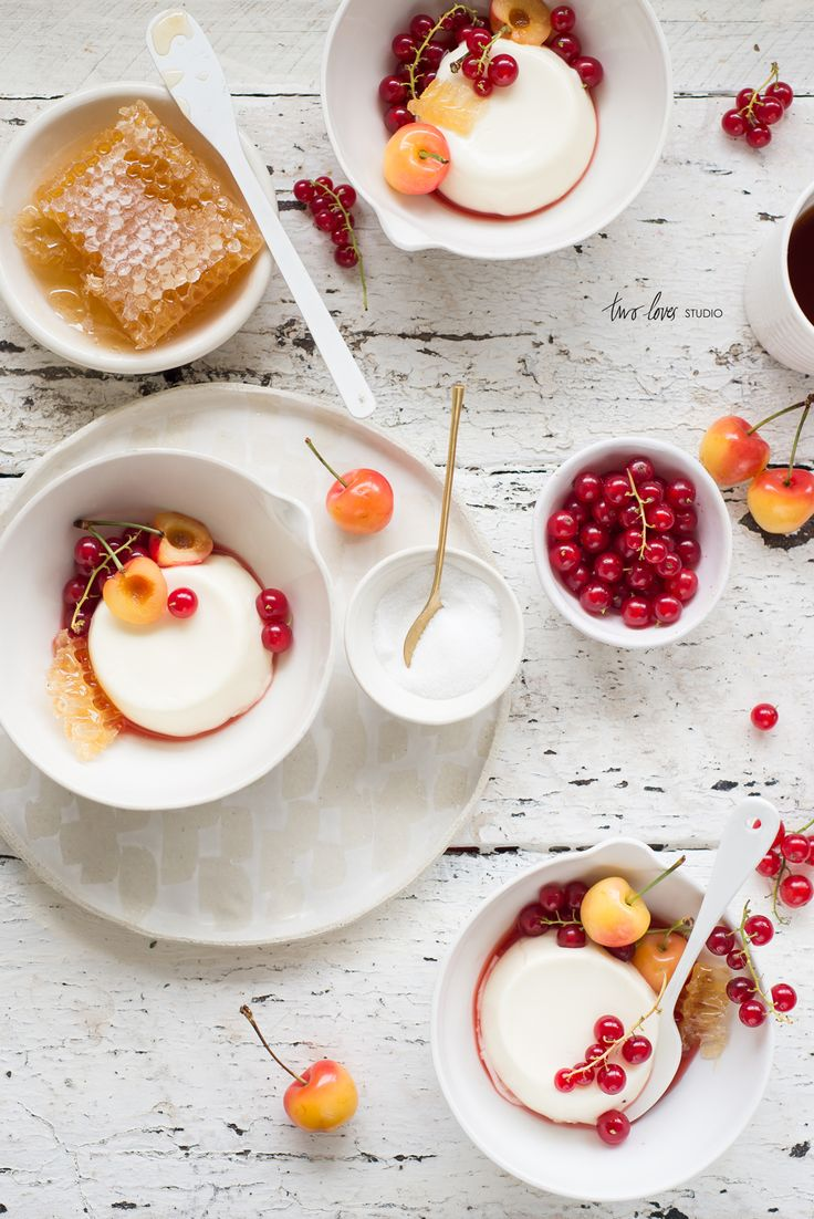Honey Buttermilk Creams with Red Currants, Blush Cherries and Strawberry Consommé: