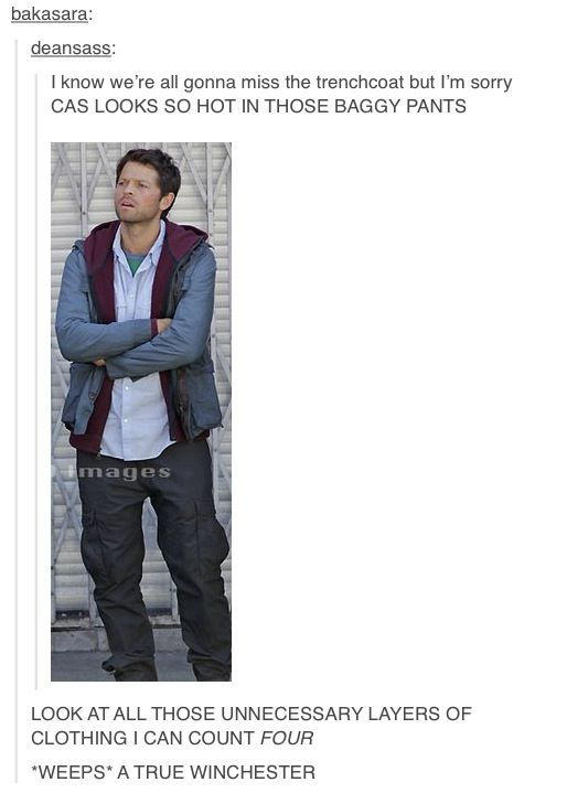 Castiel- a true Winchester. But seriously, though. I like this look.