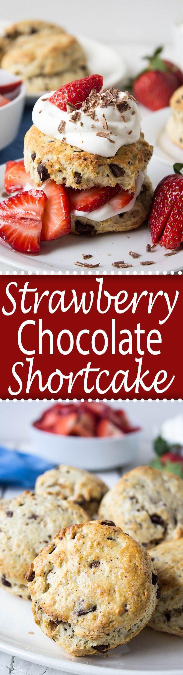 Fresh strawberries and chunks of chocolate make this Strawberry Chocolate Shortcake irresistible!