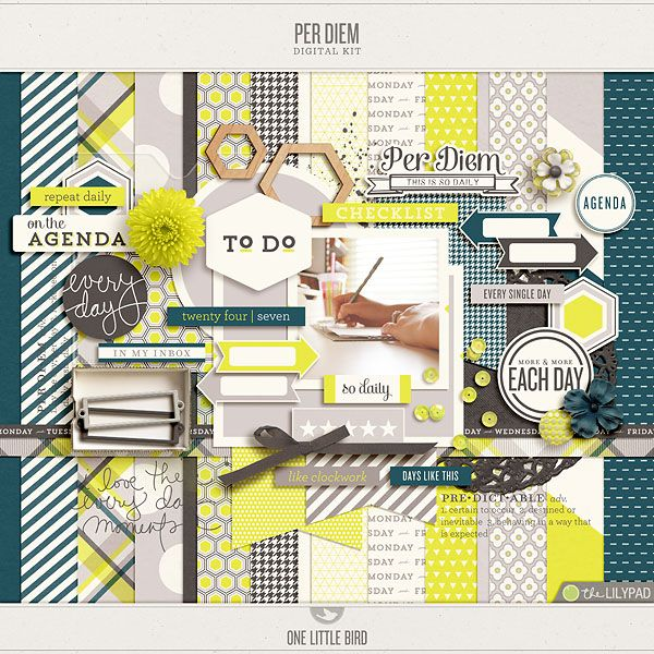 Per Diem by One Little Bird @ TLP, love the grey-teal color sheme here together with the pops of neon yellow! So amazing and looks like you could scrap many photos with this kit!