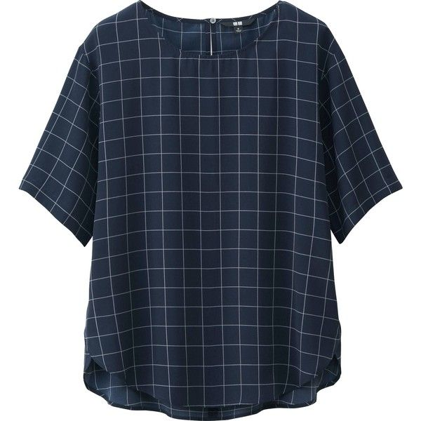 UNIQLO Women's Short Sleeve Satin Blouse ($20) ❤ liked on Polyvore featuring tops, blouses, shirts, t-shirts, short sleeve tops, satin shirt, blue shirt, shirt tops and shirt blouse
