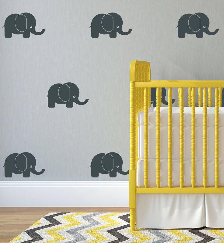 Elephant Wall Decal Nursery Decal Cute Wall Sticker Baby Elephant Wall  Sticker Vinyl Playroom Stencil Customizable