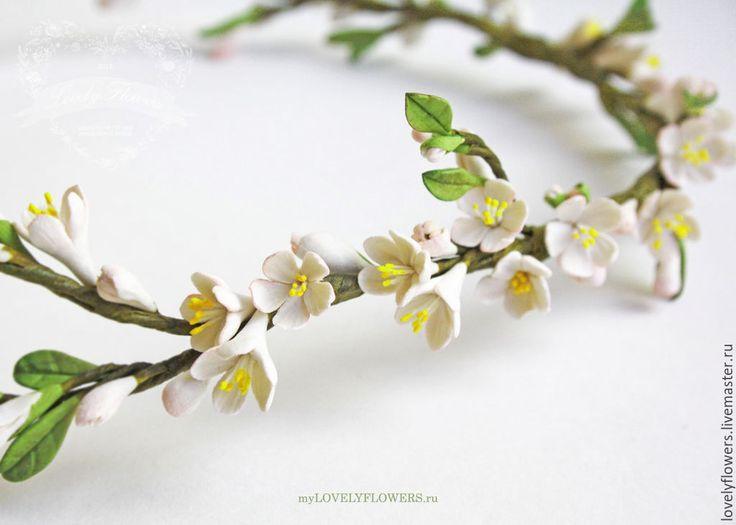 Купить Венок с цветами из полимерной глины - бледно-розовый, цветы ручной работы, свадебные аксессуары