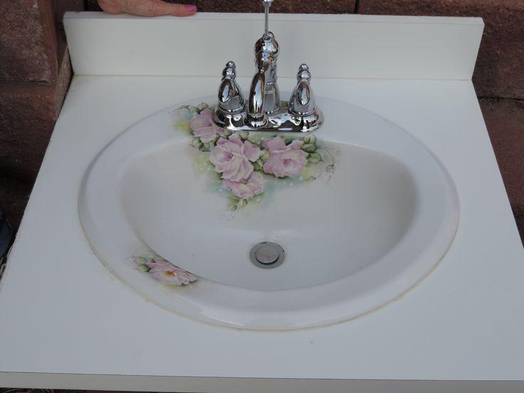 Original Design Hand Painted Porcelain Sink.