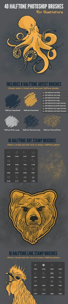 40 Halftone Illustration Brushes for Photoshop - Texture Brushes