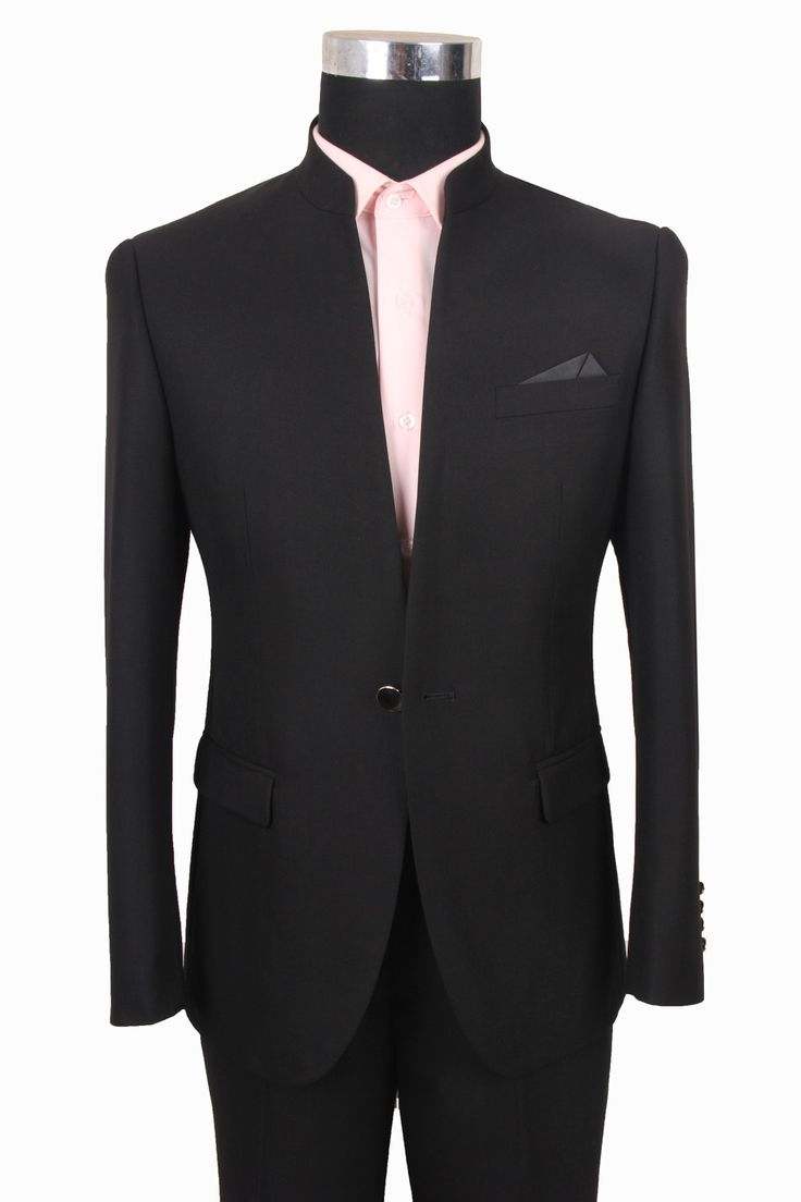 Taobao new pierre cardin men's suits korean chinese collar slim married tunic a buckle black china english wholesale