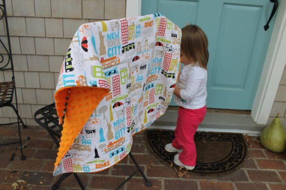 New York City Stroller Blanket with Orange Minky Dot by iyuddayou