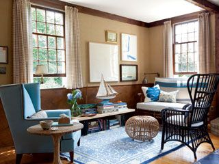 Light Wicker Furniture And A Soft Blue Wing Chair Balance A Heavier Wood. Part 60