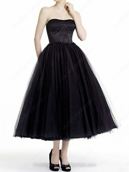 Ball Gown Strapless Tulle Tea-length Draped Prom Dresses -USD$144.29