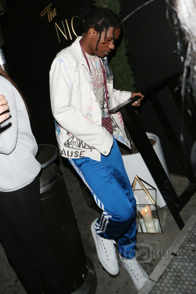 ASAP Rocky wearing Himumimdead Custom Denim Jacket, Himumimdead Shanked  Shania Twain T-Shirt,
