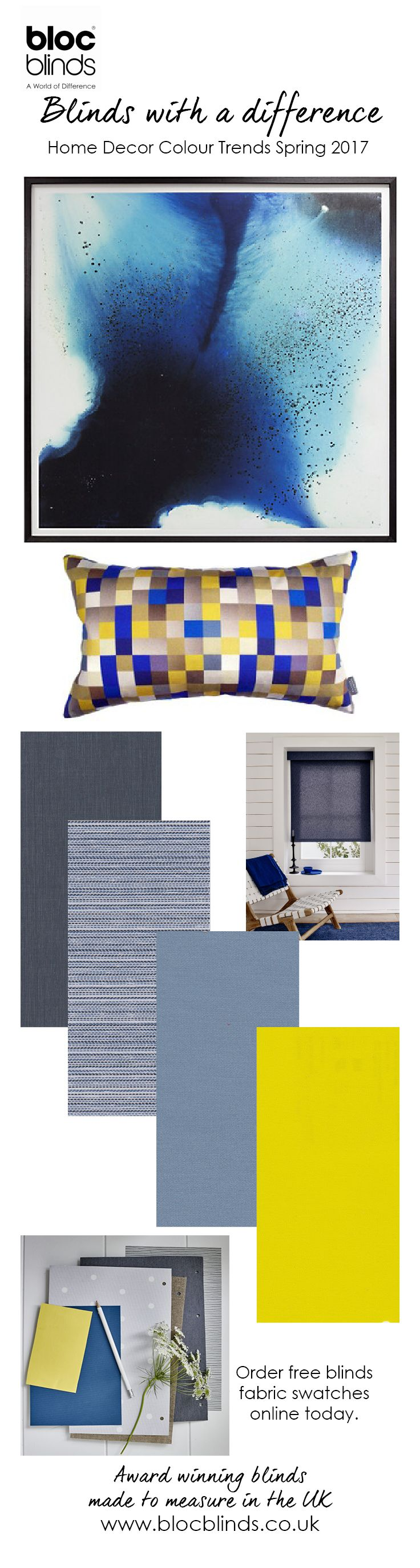 Achieve a fresh look in your home using blues and yellows this spring. Bloc Blinds help you to pull the look together with clever accessorising. Order free window blind swatches online.