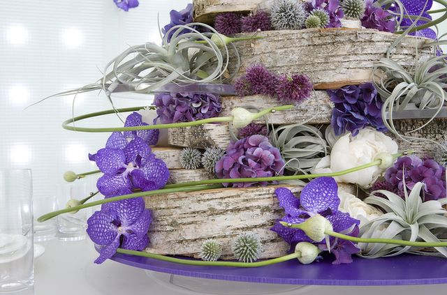 Vanda orchid, Tillandsia, Hydrangea, Eryngium, Lotus bud, Birch bark