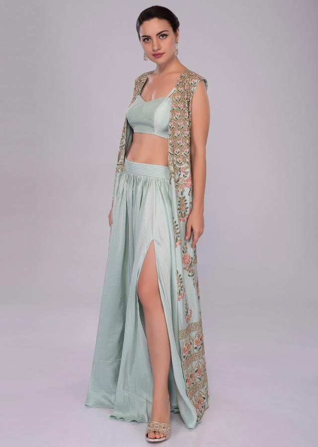 14653dada Irish mint heavy dupion skirt and bustier with long embroidered ...