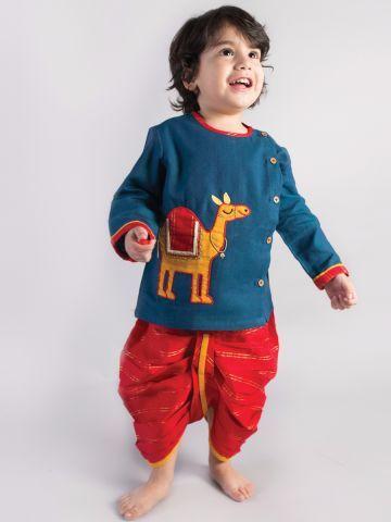 c96ead83e9f46 Blue Camel Dhoti Kurta Set Infant Boys   Kids dress in 2019   Kids ...