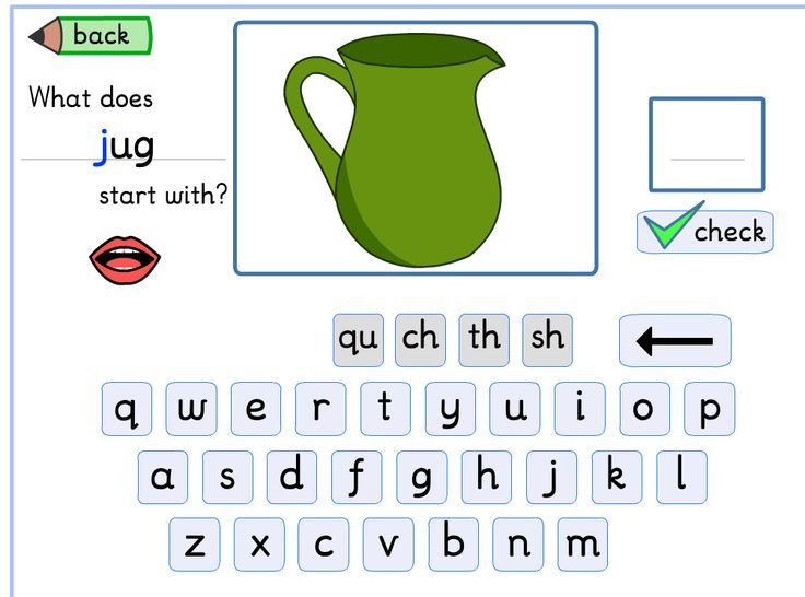 "FREE ONLINE INITIAL SOUNDS GAME.  Includes sound!  In the example pictured above the speaker asks, ""What does jug start with?""."