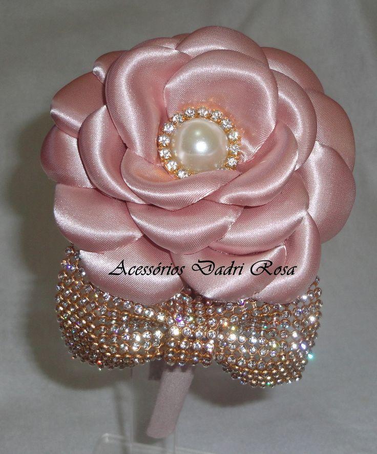Tiaras De Luxo Rose | Dadri Rosa, tiaras e faixas | Elo7