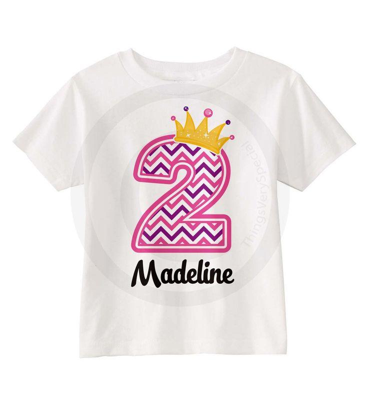 Pink and Purple Chevron Princess Girl's Birthday shirt 05232014d