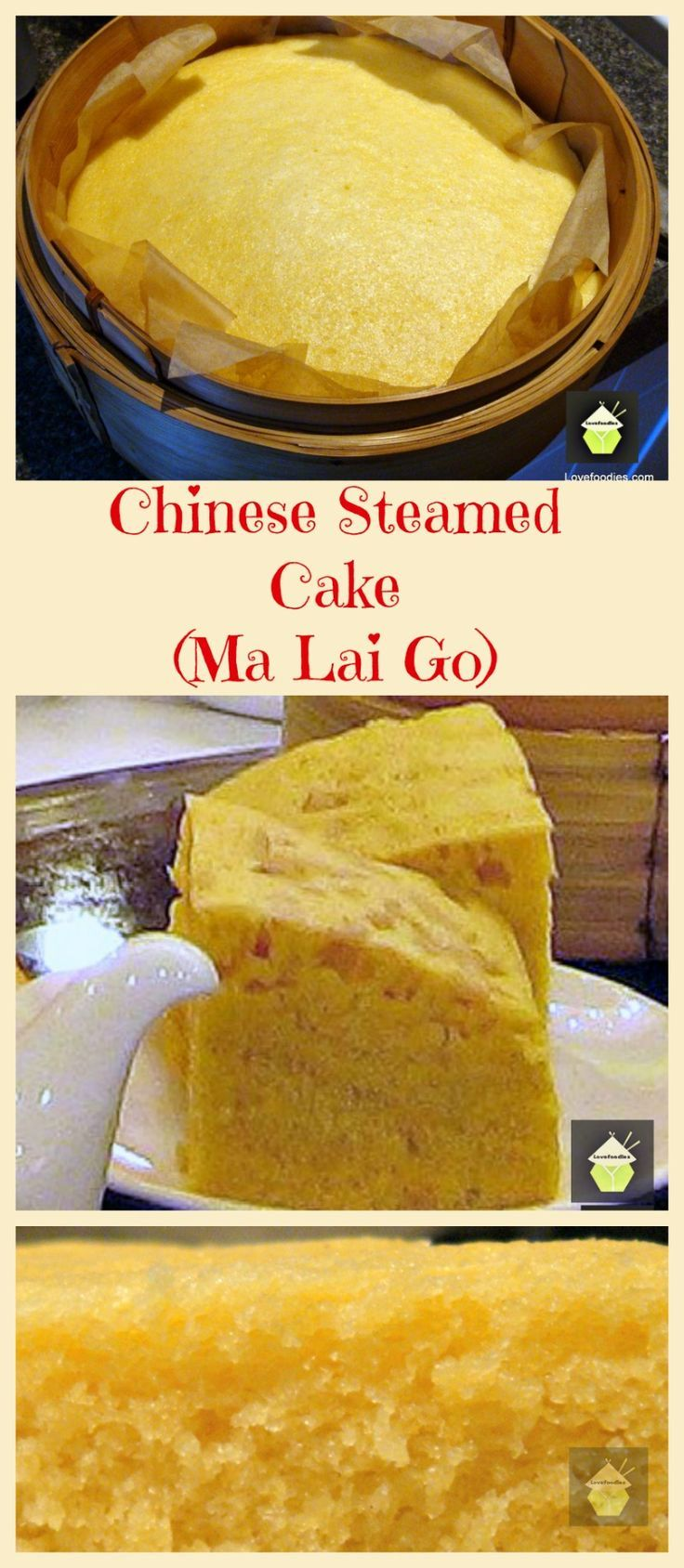 Ma Lai Go Chinese Steamed Dim Sum Cake. This is a lovely moist steamed cake, fluffy as a feather and uses very regular ingredients. Easy recipe with step by step instructions. Often eaten as part of Dim Sum and of course a nice cup of tea!  Try it!