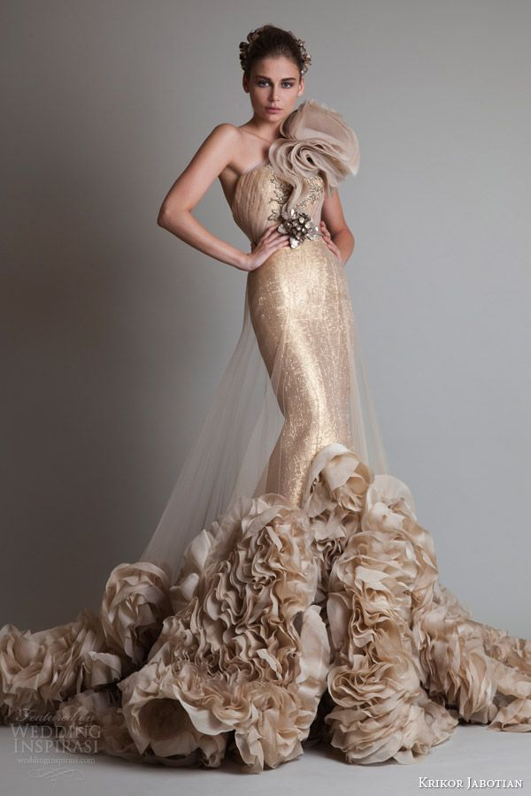 krikor jabotian couture fall 2013 2014 gold one shoulder gown illusion overskirt