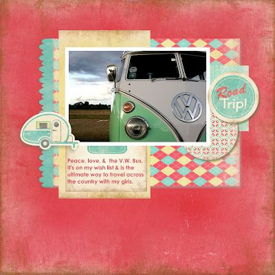 Digital scrapbook layout by designer Angi Barrs featuring the Retro Road Trip digital kit by Samantha Walker available at www.snapclicksupp... #digitalscrapbooking #snapclicksupply