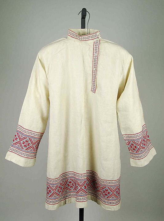 Shirt, 1890–1910, culture: Russian, medium: linen, cotton. The Metropolitan Museum of Art.