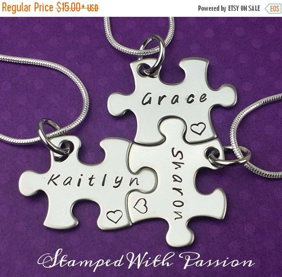 Sale Puzzle Piece Necklace - Hand Stamped personalized stainless steel - Best friends - Sorority sisters - sisters - Besties -