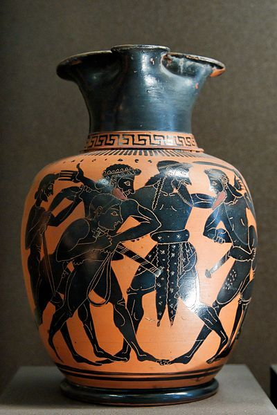 Dispute between Ajax and Odysseus for Achilles' armour. Attic black-figure oinochoe (wine jug), ca. 520 BC. Located in the Louvre, Paris.