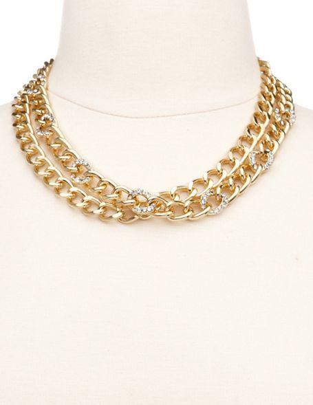 """DOUBLE CHAIN & RHINESTONE NECKLACE: This fierce short necklace features a double strand of metallic chain links with shimmering rhinestones inlaid throughout. Fits with a lobster claw and extender. 8"""" long. $6.00 NOW: $5.00"""