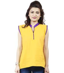 Buy Holi Festival Special Yellow and Purple woven Cotton tunics tunic online
