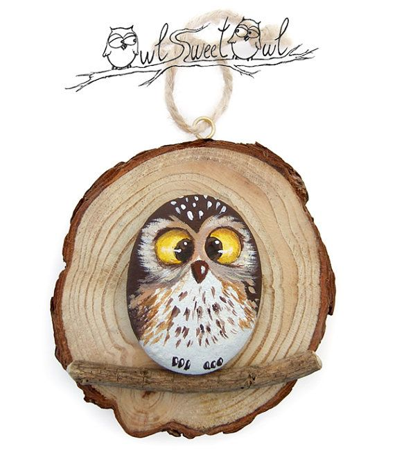 Unique Painted Rock Owl on a Wooden Trunk Section | Original Gift Idea by Owl Sweet Owl