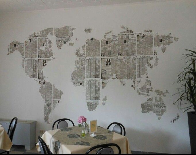 Newspaper Map. Cut out country shapes from papers.