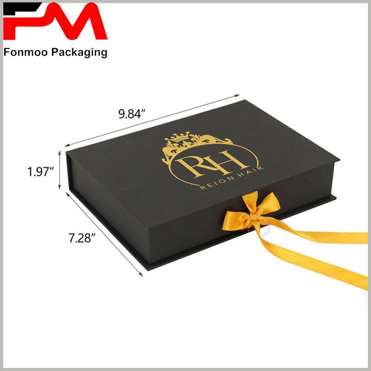 Custom pretty recycled gift packaging boxes for hair extensions, show sizes are 7.28 in × 1.97 in × 9.84 in. However, because it is a custom package, so the packaging size is based on your product needs to determine, click on the picture into the official website to tell us your actual needs