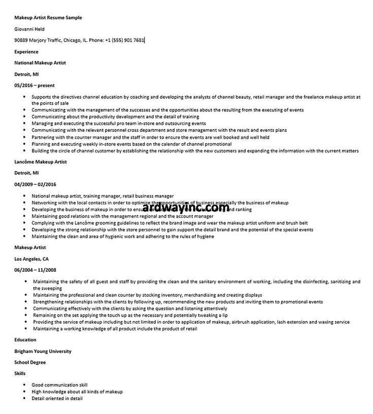 Makeup artist resume sample in 2020 makeup artist resume