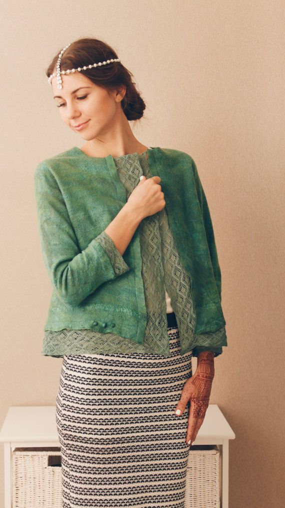 Green jacket with vintage style lace felted wool cotton by Baymut