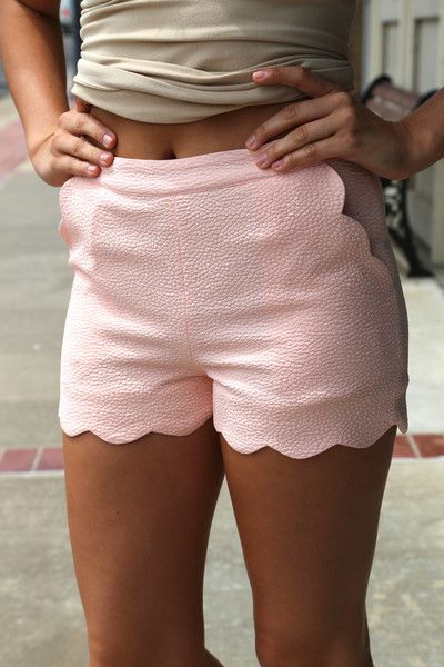 Pastel Scalloped Shorts {Blush}   The Rage