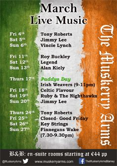 Our music lineup for this busy month of March with St. Patrick's Day and Easter so close together. We start tomorrow with Tony Roberts at 10pm, Saturday Jimmy Lee at 10pm and Sunday Vincie Lynch at 9pm. Come on in and join us.