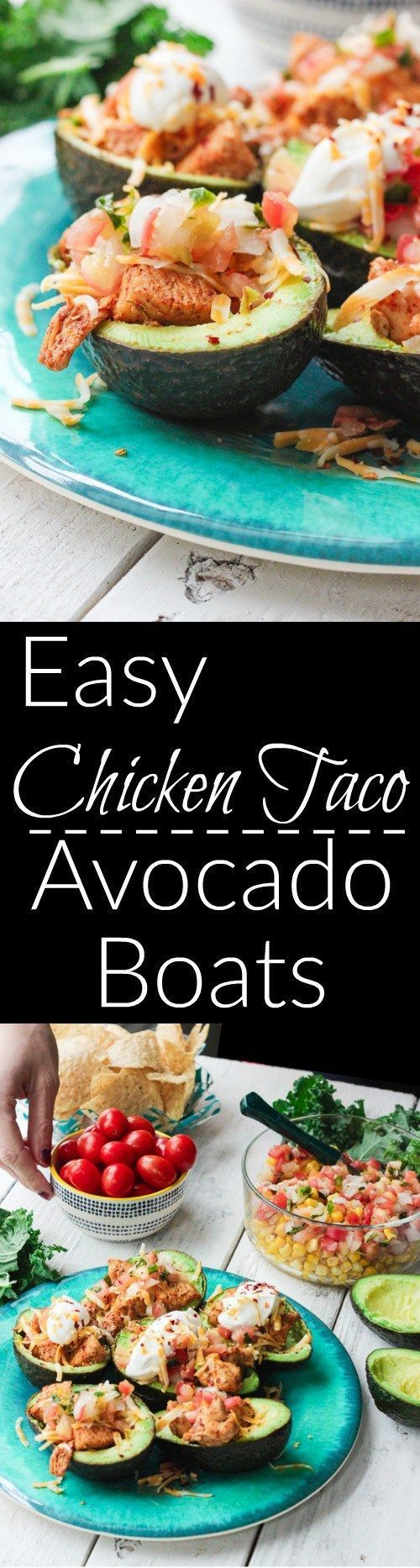 These chicken taco avocado boats are a quick and tasty option for your party or appetizer table. These are a healthy alternative to tacos while keeping that punch of flavor! http://www.BlessHerHeartYall.com