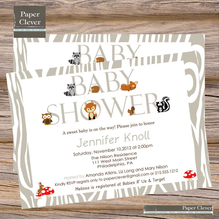 mod woodland baby shower invitation neutral sprinkle party