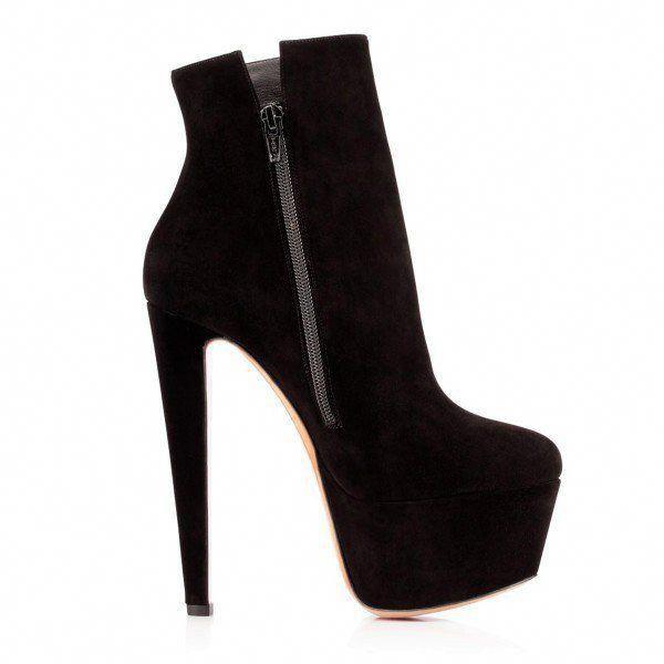 Women's Black Chunky Heel Suede Platform Boots image 3