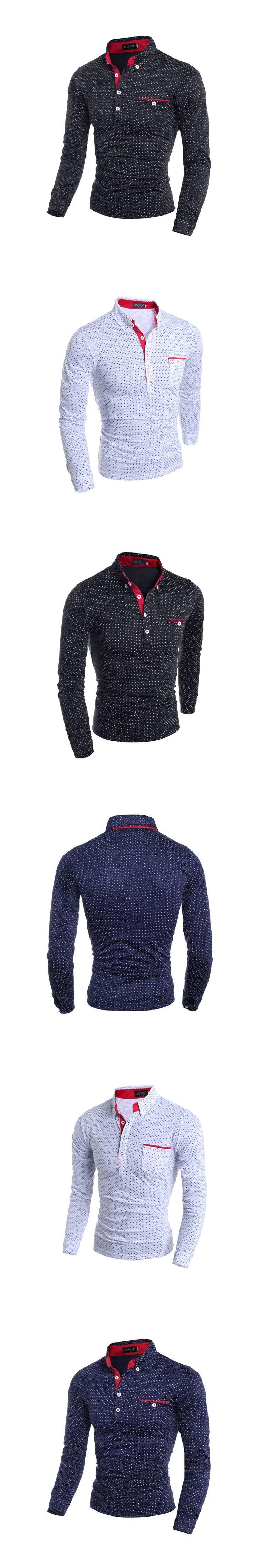 HOWL LOFTWsgyj Herren Polo Shirt Marken 2017 Mannlichen Langarm Fashion Beilaufig Polka Dot tasche Taste polos Manner Trikots