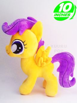 My Little Pony Scootaloo Plush  Cutie Mark Crusader Scootaloo looks fantastic as a plush! Her cute little wings, pink mane and smiling face make these toys an ideal gift.  - Plush is approx 12 inches / 30 cm tall. - Brand new with tags. - Ages 6 & up.