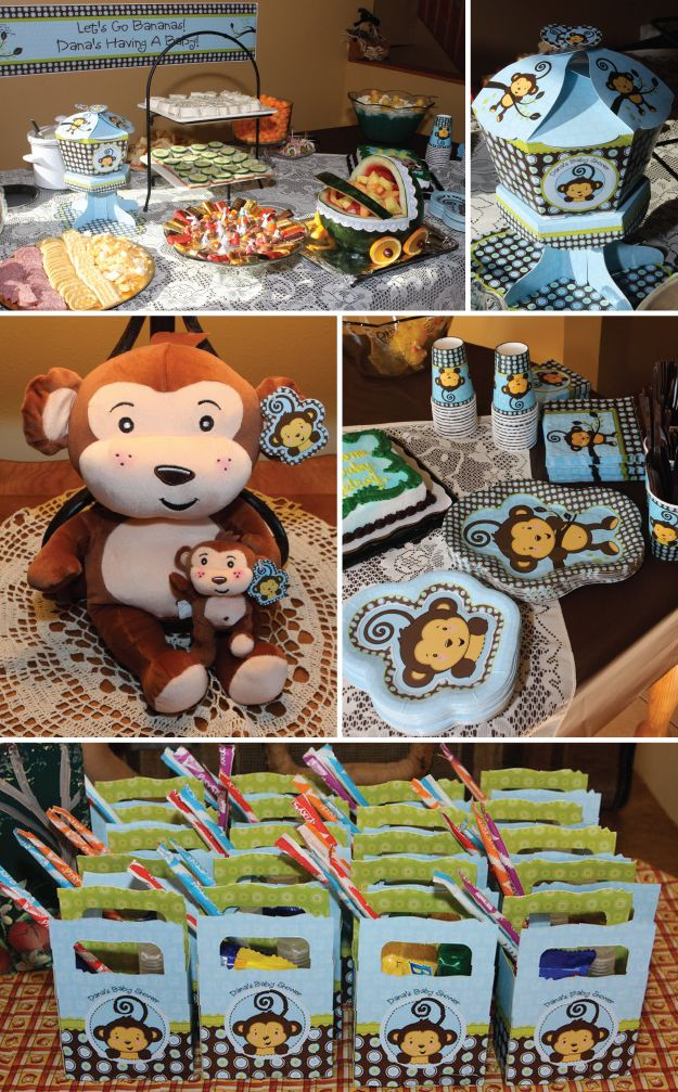 Here is a picture we found of the monkey theme.  You see how well everything just goes together and makes your party look spectacular! Monkey Boy Baby Shower Party    For some more Monkey Boy Baby Shower Ideas visit:  http://www.modern-baby-shower-ideas.com/Monkey-boy-baby-shower.html