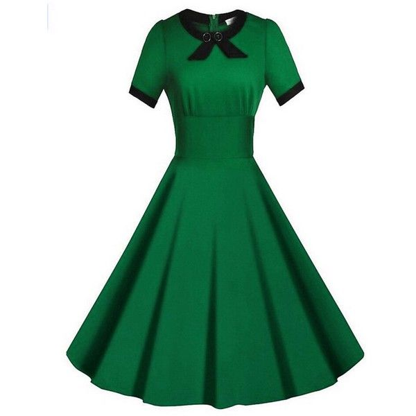 SYLVIEY Women's Scoop Neck Elegant Bow Vintage 1940's Casual Evening... ❤ liked on Polyvore featuring dresses, scoop neck dress, scoop-neck dresses, green color dress, green vintage dress and vintage cocktail dresses